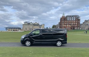 One of our Renault Trafic people carriers at the 18th hole, St Andrews Golf Course