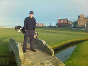 Golfer on Swilkin Bridge St. Andrews Old Course